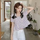 shirt Purple, yellow Average size Summer 2021 polyester fiber 51% (inclusive) - 70% (inclusive) Short sleeve commute Short style (40cm < length ≤ 50cm) square neck Socket puff sleeve Broken flowers 18-24 years old Straight cylinder Korean version 9618X