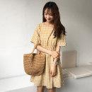 Dress Summer of 2018 Yellow is lively Average size Middle-skirt singleton  Short sleeve commute square neck High waist lattice Socket A-line skirt