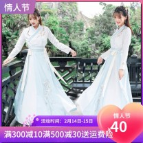 National costume / stage costume Spring 2020 Blue single room top, pink single room top, Pink Long Sleeve + long skirt, blue long sleeve + long skirt, dark blue long sleeve + long skirt, sky blue short sleeve + long skirt, pink short sleeve + long skirt XS,S,M,L,XL,XXL 18-25 years old acrylic fibres