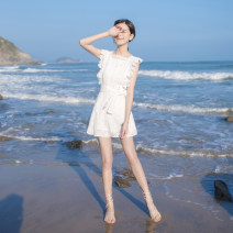 Dress Summer of 2019 white XS,S,M,L Short skirt singleton  Short sleeve commute Crew neck High waist Solid color zipper A-line skirt Flying sleeve Others 18-24 years old Type A Coco family Korean version 81% (inclusive) - 90% (inclusive) other cotton