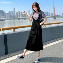 Dress Summer of 2019 black S,M,L,XL,2XL longuette Two piece set Short sleeve Loose waist Socket routine straps Other / other BYS1168