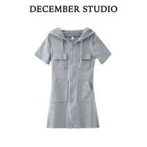 Dress Summer 2021 Gray, black S,M,L Short skirt singleton  Short sleeve commute Hood High waist Solid color other routine 18-24 years old Type A Korean version 51% (inclusive) - 70% (inclusive)