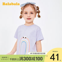 T-shirt Bala 90cm,100cm,110cm,120cm,130cm female summer Short sleeve Crew neck leisure time There are models in the real shooting nothing cotton Cartoon animation other 3, 4, 5, 6, 7 Chinese Mainland