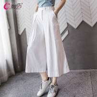 Casual pants White (7 points), white long (9 points) XS,S,M,L,XL,2XL Summer of 2019 Cropped Trousers Wide leg pants High waist commute Thin money 25-29 years old 96% and above WG3051 Gebeishang cotton Korean version pocket cotton