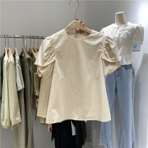 shirt White, apricot Average, s (please take average for m) cotton 81% (inclusive) - 90% (inclusive) Short sleeve commute Regular Crew neck Socket routine Solid color 18-24 years old Straight cylinder Lotus leaf edge