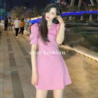 Dress Summer 2020 Black, pink S,M,L Short skirt singleton  Short sleeve commute V-neck High waist Solid color Socket A-line skirt puff sleeve 18-24 years old Type A YT&UR YU13R7EN2001 More than 95% other