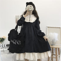 Dress Spring 2021 Black, pink Average size Mid length dress singleton  Long sleeves Sweet Crew neck High waist Solid color Single breasted Princess Dress 18-24 years old Type A Lotus leaf edge Lolita