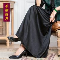 skirt Summer 2020 S,M,L,XL,2XL,3XL black Mid length dress Versatile High waist A-line skirt Solid color Type A Qianhe More than 95% Chinese Classics