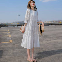 Dress Summer 2020 white S,M,L,XL,2XL Mid length dress singleton  elbow sleeve commute Crew neck High waist Solid color Socket A-line skirt pagoda sleeve Type A Korean version Hollowing out