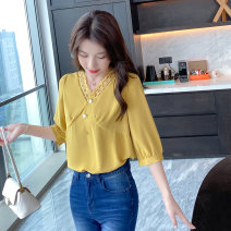 Women's large Autumn 2020 Black spot, pink spot, yellow spot, black pre-sale (delivery within 10 days after payment), pink pre-sale (delivery within 10 days after payment), yellow pre-sale (delivery within 10 days after payment) shirt singleton  street easy moderate Socket three quarter sleeve V-neck