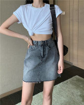 skirt Spring 2021 S,M,L,XL grey Short skirt Versatile High waist Denim skirt Solid color Type A 25-29 years old 31% (inclusive) - 50% (inclusive) other acrylic fibres Button
