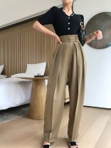 Casual pants Khaki, black XS,S,M,L Winter of 2019 trousers Wide leg pants High waist commute Thin money 18-24 years old 81% (inclusive) - 90% (inclusive) COCO201912-25 polyester fiber Simplicity polyester fiber Asymmetry