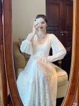 Women's large Winter 2020, autumn 2020 Apricot dress S [recommended 80-90 kg], m [recommended 90-105 kg], l [recommended 106-120 kg], XL [recommended 121-130 kg], 2XL [recommended 130-140 kg], 3XL [recommended 140-150 kg], 4XL [recommended 150-170 kg] Dress singleton  commute moderate Socket Retro