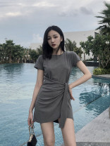 Dress Summer of 2019 Gray, black, see illustration: [recommended weight for reference only] S,M,L,XL Short skirt singleton  Short sleeve commute Crew neck High waist Solid color Socket Irregular skirt routine Others 18-24 years old Type H Korean version Tuck, fold, tie, splice, tie