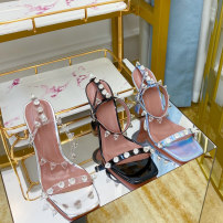 Sandals 35,36,37,38,39,40,41,42 top layer leather Other / other Square head Wine glass and heel Super high heel (over 8cm) Summer 2021 Flat buckle princess Solid color Youth (18-40 years old) genuine leather Back space rhinestone Hollow Sheepskin Sheepskin Flat buckle