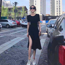 Dress Summer 2021 black S,M,L,XL longuette singleton  Short sleeve commute Crew neck High waist Solid color Socket A-line skirt routine Others 25-29 years old Type A Simplicity Splicing 91% (inclusive) - 95% (inclusive) knitting modal