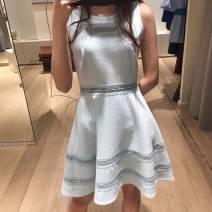 Dress Autumn of 2019 Maroon S/T1,M/T2,L/T3 Short skirt singleton  Sleeveless Sweet Crew neck High waist Solid color Socket Type A 18060C More than 95% polyester fiber princess