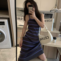 Dress Summer 2021 Blue, black Average size Mid length dress singleton  commute One word collar High waist stripe Socket A-line skirt routine camisole Korean version L2103098 More than 95% cotton