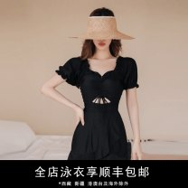 one piece  Durant swimsuit M,L,XL black Skirt one piece With chest pad without steel support Nylon, others female Short sleeve Casual swimsuit Solid color Pleating