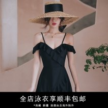 one piece  Durant swimsuit M,L,XL black Skirt one piece With chest pad without steel support nylon KLT201918 female Sleeveless Casual swimsuit Solid color
