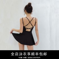 one piece  Durant swimsuit M,L,XL black Skirt one piece Steel strap breast pad nylon female Sleeveless Solid color backless