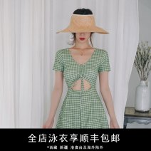 one piece  Durant swimsuit M,L,XL Avocado Green Skirt one piece With chest pad without steel support nylon KLT201931 female Sleeveless lattice Hollowing out