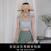 Split swimsuit Durant swimsuit Black, green check S,M,L,XL Skirt split swimsuit With chest pad without steel support nylon KLT201911 female One word collar