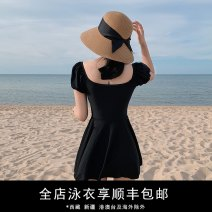one piece  M,L,XL black Skirt one piece With chest pad without steel support nylon female Short sleeve Casual swimsuit Solid color Pleating