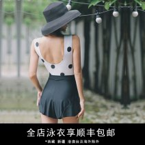one piece  Durant swimsuit S,M,L,XL,XXL black Skirt one piece With chest pad without steel support nylon KLT1912 female Sleeveless Wave point Hollowing out