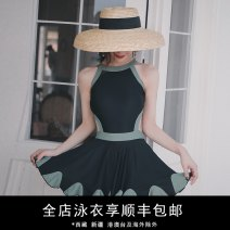 one piece  Durant swimsuit M,L,XL,XXL Black with green, green with off white Skirt one piece Steel strap breast pad nylon KLT20191025 female Sleeveless Casual swimsuit Solid color backless