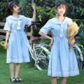 Dress Summer 2021 Light blue, Navy S,M,L,XL longuette singleton  Short sleeve commute Admiral High waist Solid color Socket A-line skirt routine 18-24 years old Type A Korean version Splicing 31% (inclusive) - 50% (inclusive) brocade cotton