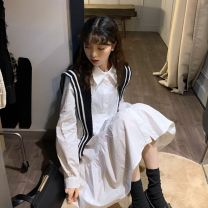 Dress Spring 2021 Average size Short skirt singleton  Long sleeves Sweet Polo collar Loose waist Solid color Single breasted Big swing shirt sleeve 18-24 years old Type A Other Button 51% (inclusive) - 70% (inclusive) other polyester fiber college