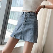 skirt Summer 2021 S,M,L,XL blue Short skirt Versatile High waist Denim skirt Solid color Type A 25-29 years old Denim cotton Asymmetry
