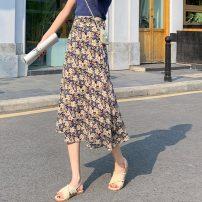 skirt Summer 2021 S,M,L,XL Decor Mid length dress Versatile High waist A-line skirt Decor Type A other zipper