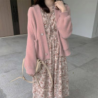 Dress Autumn 2020 Pink cardigan, floral dress S,M,L,XL Mid length dress Two piece set Long sleeves commute V-neck High waist Broken flowers Socket A-line skirt routine Others MAJE BRIAN Korean version More than 95% other