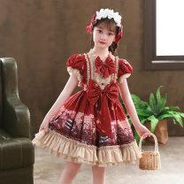 Dress female Doveark Polyester 100% spring and autumn princess Short sleeve Cartoon animation blending Princess Dress Class B Three, four, five, six, seven, eight, nine, ten, eleven, twelve, thirteen gules 110cm,120cm,130cm,140cm,150cm,160cm