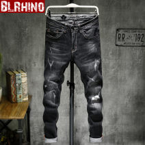 Jeans Youth fashion Baylor rhinoceros 28 29 30 31 32 33 34 35 36 38 black routine Micro bomb Regular denim 7673# trousers Cotton 98% polyurethane elastic fiber (spandex) 2% Four seasons teenagers middle-waisted Fitting straight tube tide 2018 Little straight foot zipper washing Five bags