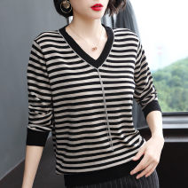 Wool knitwear Spring 2021 M,L,XL,2XL,3XL,4XL Black and yellow stripe (long sleeve), blue and white stripe (long sleeve), black and yellow stripe (5-sleeve) Long sleeves singleton  Socket other 31% (inclusive) - 50% (inclusive) Regular routine commute easy V-neck routine stripe Socket Korean version