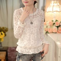 Lace / Chiffon Spring 2017 White, black M,L,XL,2XL Long sleeves commute Socket singleton  Self cultivation Crew neck Solid color routine 25-29 years old Hollowing, pleating, Gouhua, hollowing, splicing, gauze, zipper, lace Korean version