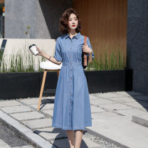 Women's large Summer 2020 Picture color S,M,L,XL Dress singleton  commute Self cultivation moderate Socket Short sleeve Korean version Polo collar Medium length Denim other Tuneva / Ivar 25-29 years old pocket 91% (inclusive) - 95% (inclusive) Medium length other trousers Hollowing out Three buttons