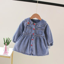 Dress blue female Knoxville 73cm 80cm 90cm 100cm 110cm 120cm Other 100% spring and autumn Korean version Long sleeves Solid color Denim A-line skirt ROTIU-5983 Class A Spring 2021 12 months 6 months 9 months 18 months 2 years 3 years 4 years 5 years old Chinese Mainland Zhejiang Province Huzhou City