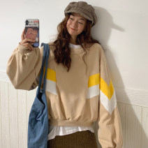 Sweater / sweater Autumn of 2019 Apricot green yellow M L XL XXL Long sleeves routine Socket singleton  Thin money Crew neck easy commute routine Color matching 18-24 years old 71% (inclusive) - 80% (inclusive) Jingqiao Korean version polyester fiber 9255# Color matching polyester fiber Cotton liner