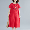 Dress Summer 2021 White, red, yellow M,L,XL,2XL Mid length dress singleton  Short sleeve commute Crew neck Loose waist Solid color Socket A-line skirt routine 25-29 years old Type A ethnic style Embroidery 51% (inclusive) - 70% (inclusive) cotton