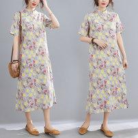 Dress Spring 2021 Picture color M,L,XL,2XL Mid length dress singleton  Short sleeve Half high collar Decor A-line skirt routine 51% (inclusive) - 70% (inclusive) cotton