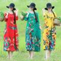Dress Summer of 2019 Red, green, yellow M,L,XL,2XL Mid length dress singleton  Long sleeves commute Crew neck Loose waist Decor Socket A-line skirt routine Others Type H Other / other ethnic style printing 31% (inclusive) - 50% (inclusive) hemp