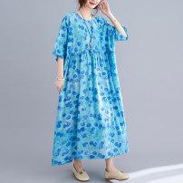 Dress Summer 2021 sky blue Average size [100-170 kg] longuette singleton  Short sleeve Crew neck Decor Socket Big swing routine Others 51% (inclusive) - 70% (inclusive)