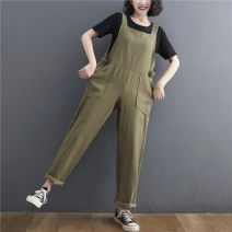 Casual pants Apricot, green Average size [100-170 kg] Summer 2021 trousers Straight pants High waist Versatile routine 31% (inclusive) - 50% (inclusive) Cotton blended fabric pocket cotton