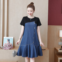 Dress Spring 2021 Picture color L [90-110 Jin], XL [110-125 Jin], 2XL [125-140 Jin], 3XL [140-155 Jin], 4XL [155-170 Jin], 5XL [170-185 Jin] Middle-skirt singleton  Short sleeve commute Crew neck Loose waist other routine Type A Korean version 81% (inclusive) - 90% (inclusive) other