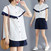 Women's large Summer 2021 Picture color 100 kg shirt Two piece set commute Cardigan Short sleeve Solid color literature stand collar routine cotton Lotus leaf sleeve 51% (inclusive) - 70% (inclusive)