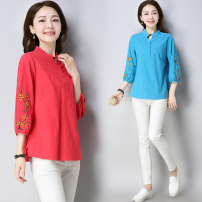 T-shirt Sky blue, orange M,L,XL,2XL,3XL Summer of 2019 three quarter sleeve stand collar Self cultivation Regular routine commute cotton 51% (inclusive) - 70% (inclusive) ethnic style Plants and flowers Other / other Embroidery